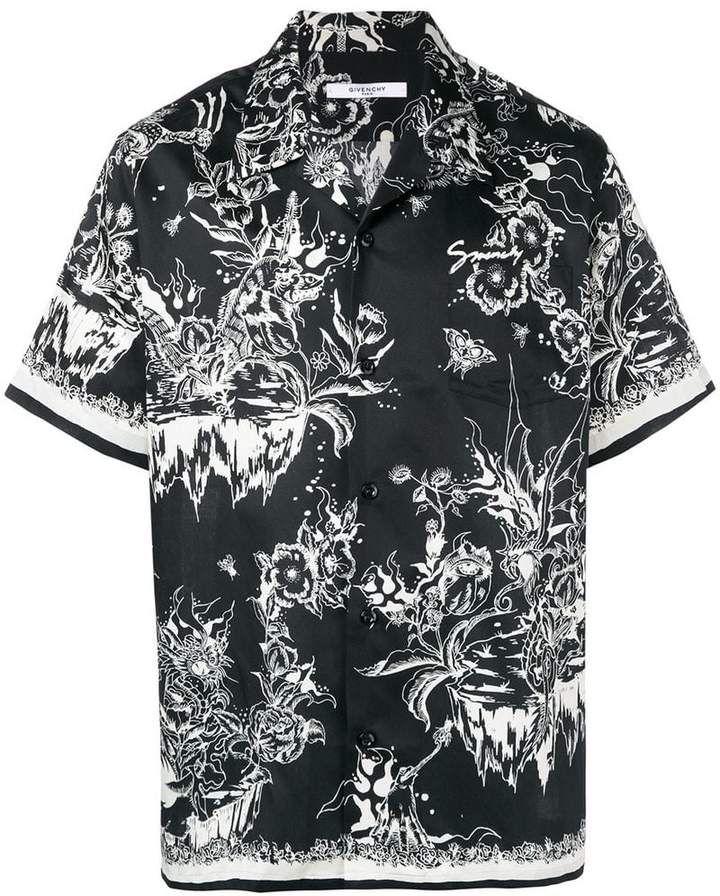 edd8d714 Givenchy Monster print Hawaiian shirt Hawaiian, Short Sleeves, Mens  Fashion, Mens Tops,
