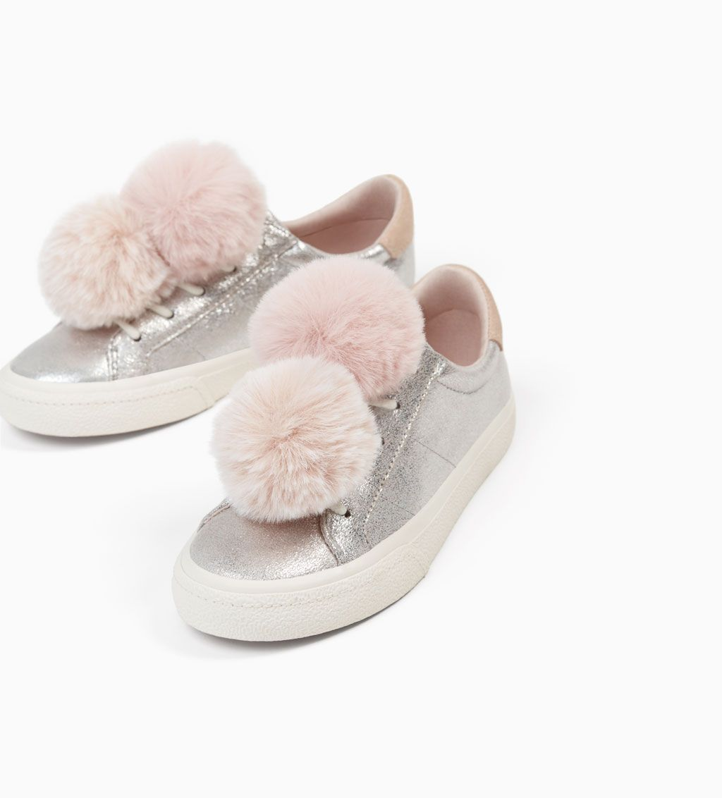 4cc4668f0f2 METALLIC SNEAKERS WITH POMPOMS-SHOES-GIRL | 5 - 14 years-KIDS | ZARA United  States