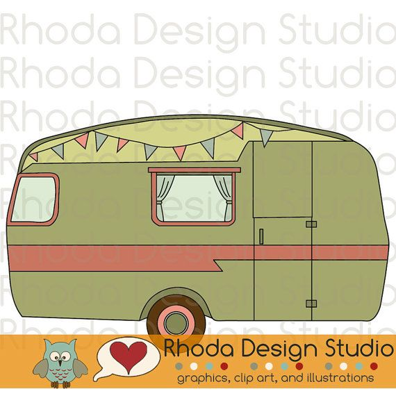 Vintage Camper Olive Green Digital Clip Art Retro Camp Trailers