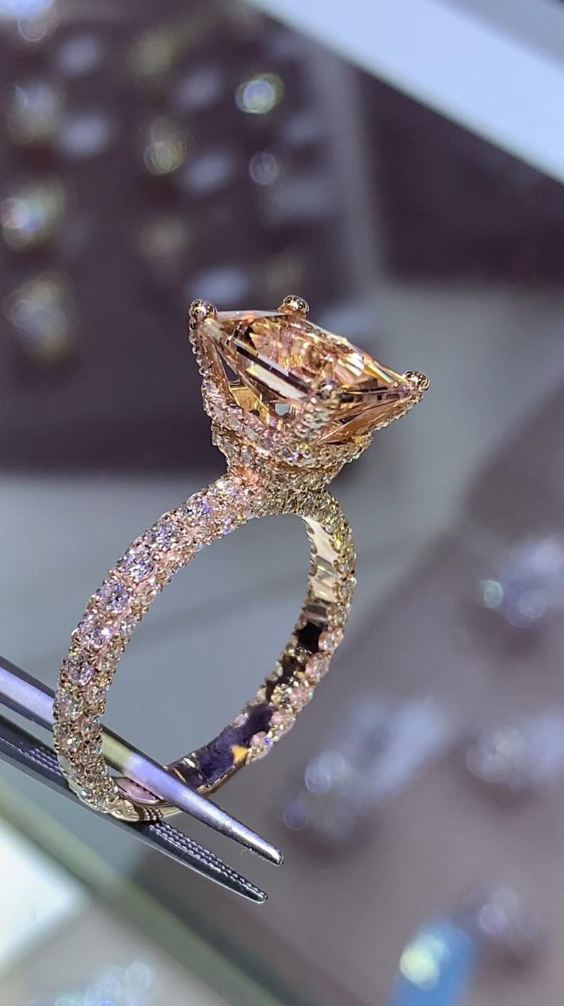 14 Karat Rose Gold Diamond Cushion Cut Morganite D