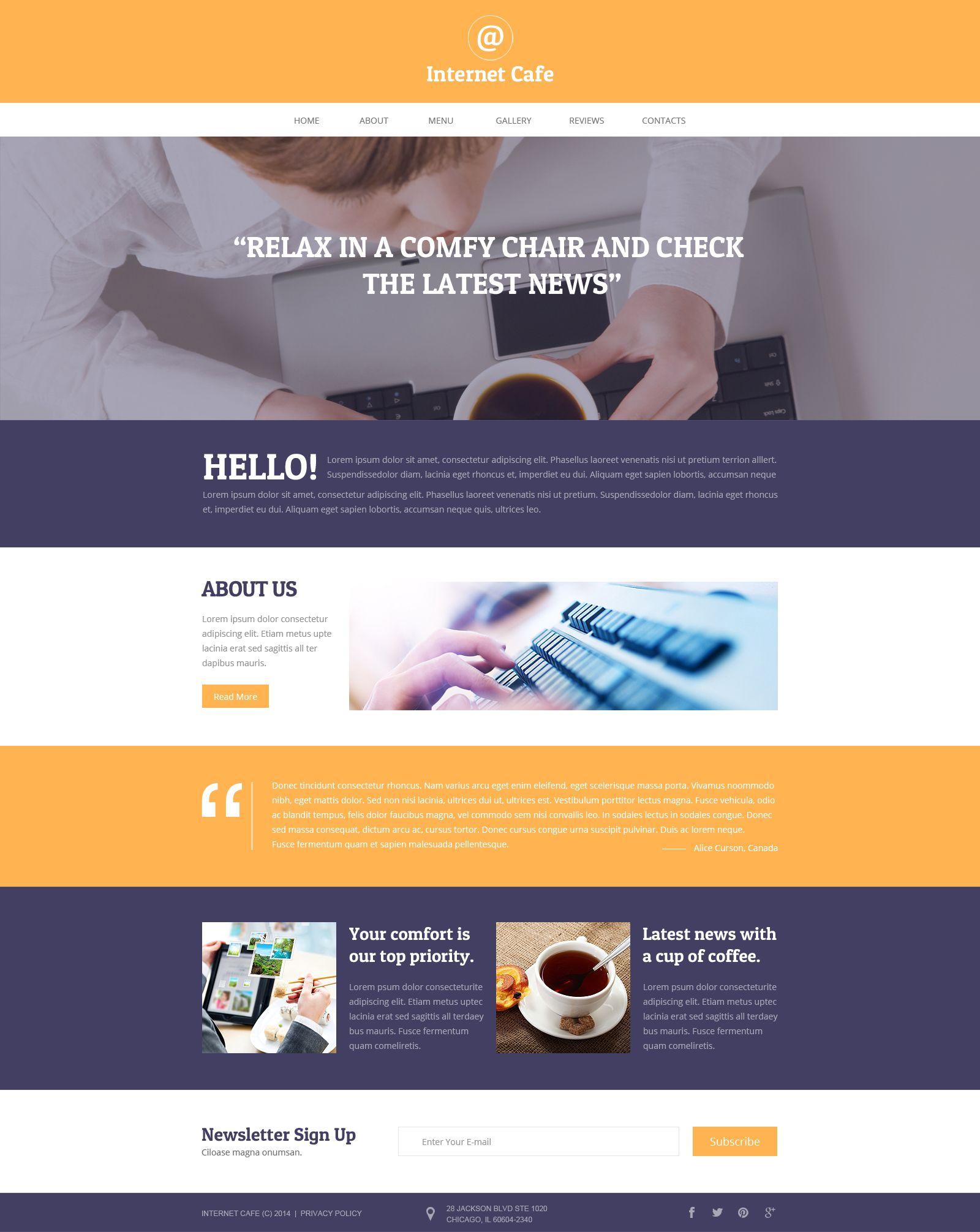 Internet Cafe Responsive Website Template | Website Template