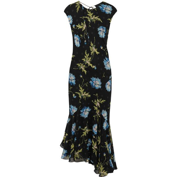 Topshop Unique Evelyn asymmetric printed silk-georgette midi dress ($355) ❤ liked on Polyvore featuring dresses, black, blossom dress, flower dress, asymmetric midi dress, cap sleeve dress and tie back dress