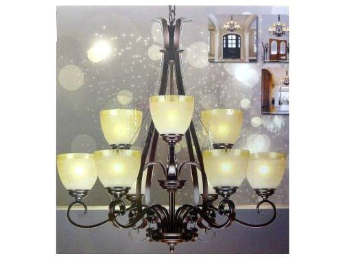 Foyer Choice Design Solutions Int Chandelier 9 Light Crackle Glass Bronze Chandelier Chandelier Crackle Glass
