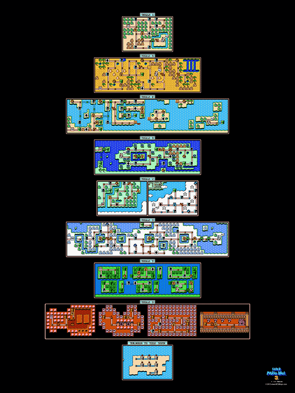 Super mario bros 3 all overworlds poster map 18 x 24 for the super mario bros 3 all overworlds poster map 18 x 24 for the gumiabroncs Gallery