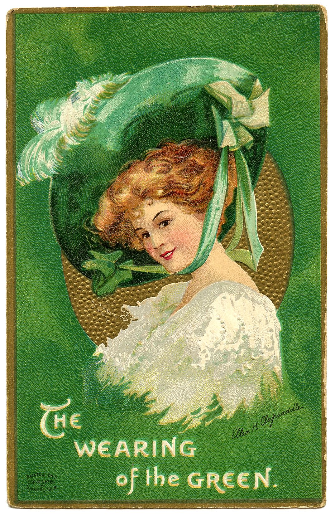 St Patrick's Day Picture - Lady with Large Hat - The Graphics Fairy