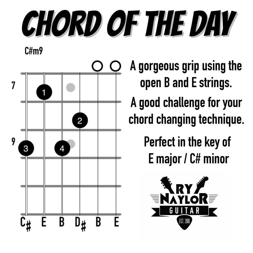 Chord of the Day number 8. A gorgeous grip for a C#m9. Got