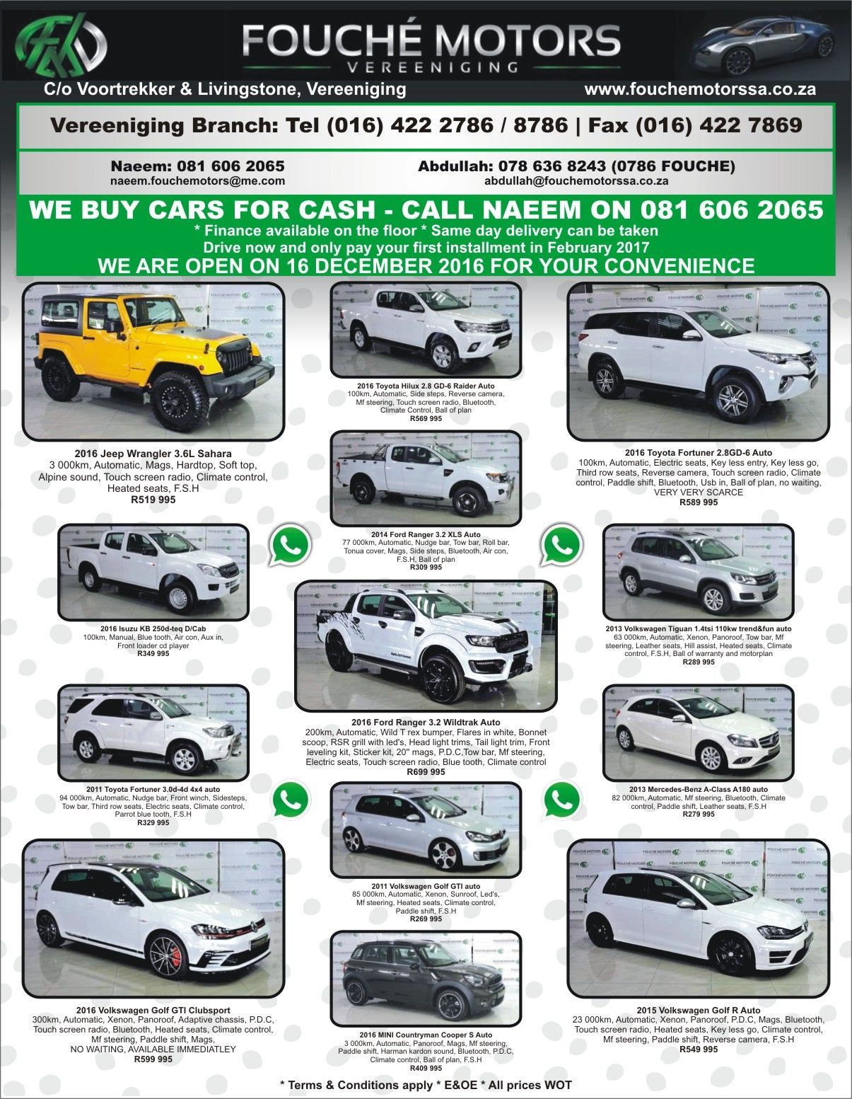 We buy cars for cash @ Fouche Motors Vereeniging !! #We can #Help ...