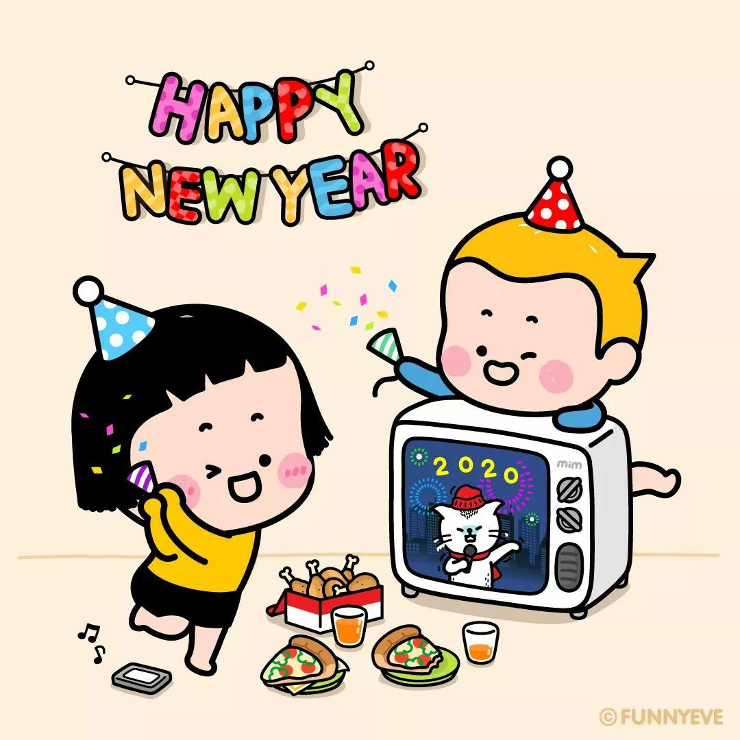 Happy New Year in 2020 Cute cartoon characters, New year
