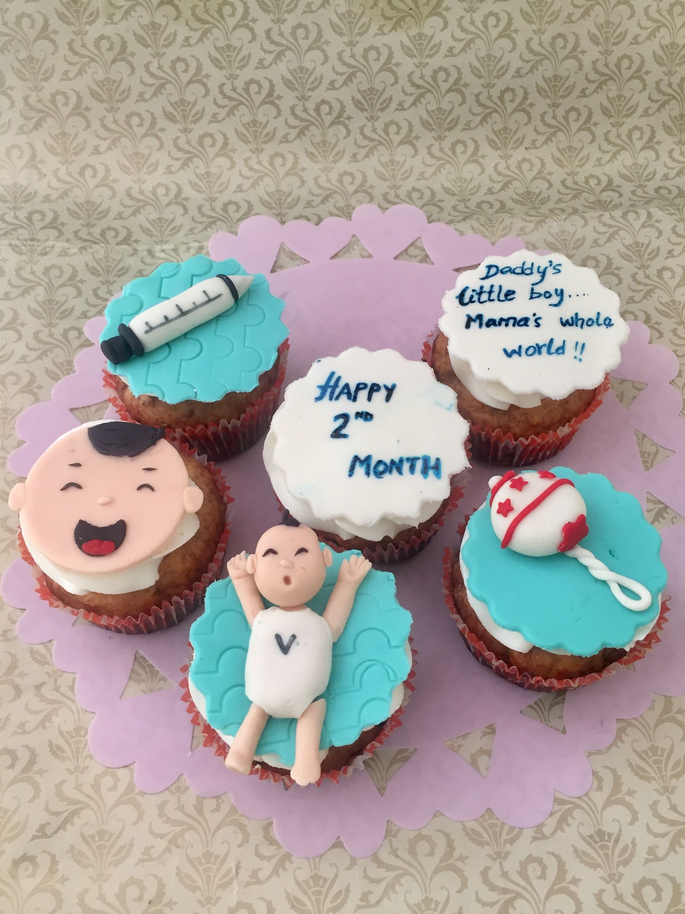 Cupcakes 2 Months Baby Celebration Baby Month By Month Cake Creations Baby Cake