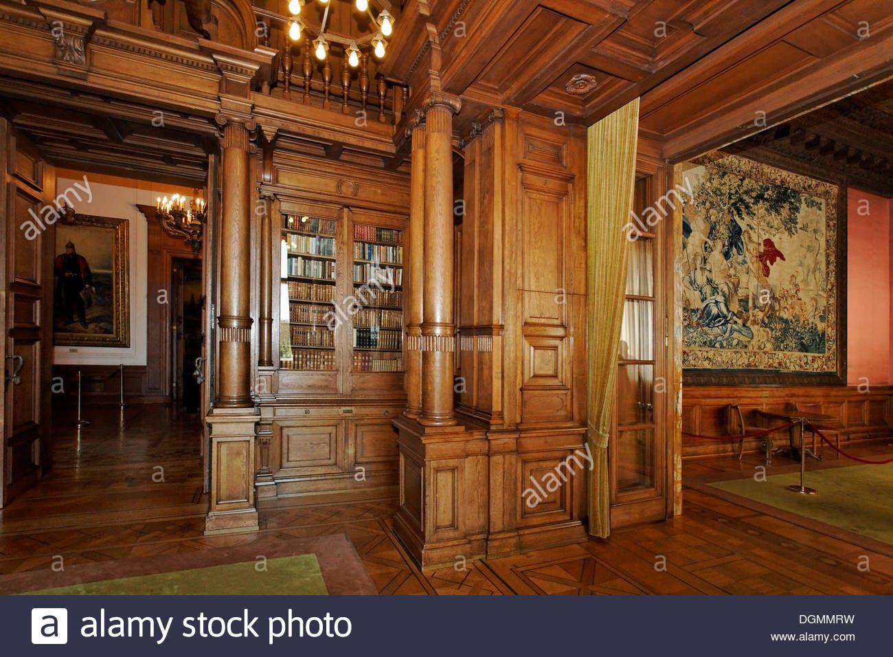 Bibliothèque avec boiseries, Villa Huegel, ancienne