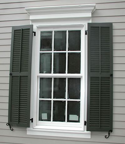 Black Shutter W Grey And White Trim Love The Thick Window Trim And Real Working Shutters W