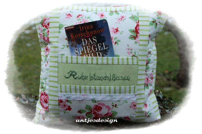 kissen geschenk zum ruhestand kissen rosen pink gr n ein designerst ck von antjesdesign bei. Black Bedroom Furniture Sets. Home Design Ideas