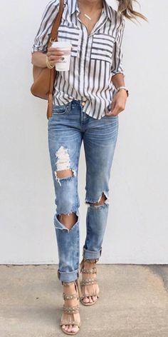 83dbeb37250 trendy outfit  shirt + bag + rips + heels