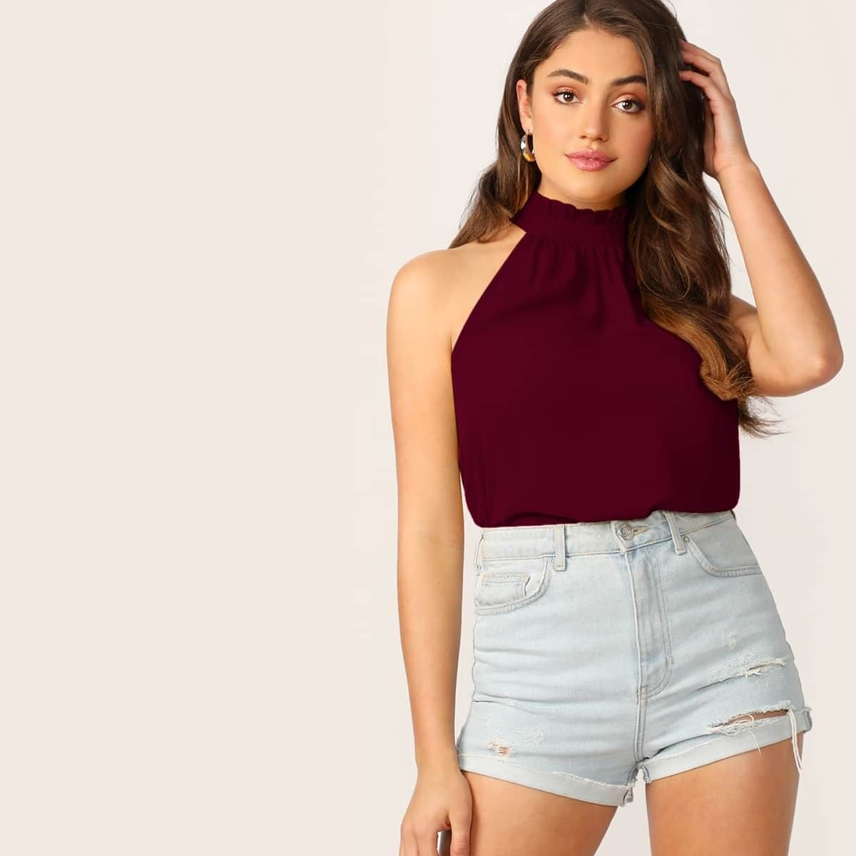 Ruffle-Strap Cami Top in Gingham   Cami tops, Gingham tops