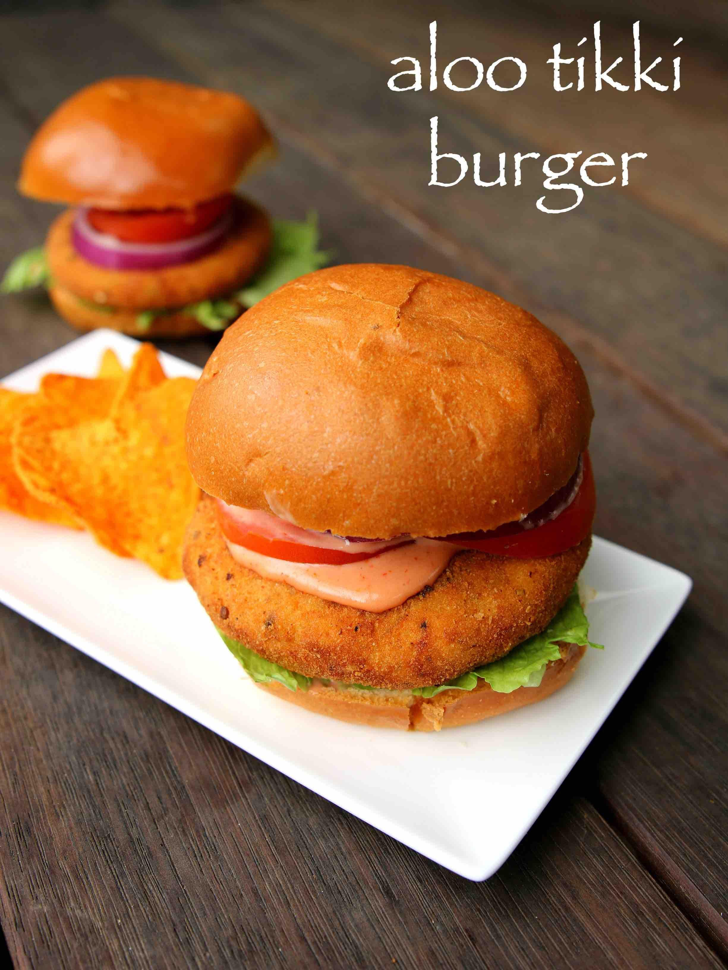 aloo tikki burger recipe | mcaloo tikki recipe | b