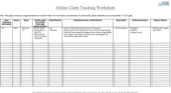 personal trainer client worksheet