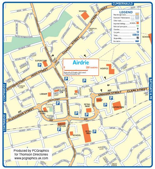 Map of Airdrie created in 2011 for Thomson Directories One of