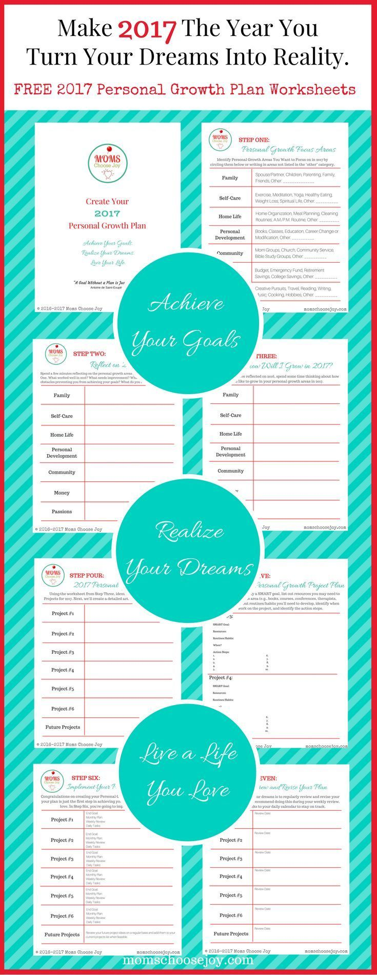 Are you ready for goal setting for 2017? This free 7-Step Personal Growth Plan Worksheet Printable is designed with busy moms in mind. Use the worksheets to create a plan to make 2017 the year you achieve your goals, turn your dreams into reality, and liv