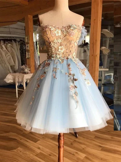 Cute tulle lace short prom dress, tulle lace homecoming dress S81