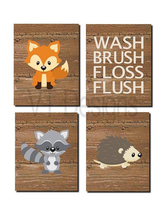 Marvelous Woodland Bathroom Art, Kids Bathroom Decor, Forest Animals, Bathroom Rules,  Toddler Art