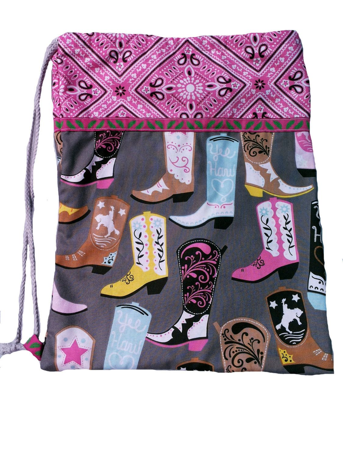 Kitbag Cowgirl, sports bags cowboy boots, pink, grey, pink, Sport ...