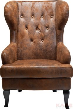 Wing Chair Vintage Material: Cover: Vintage Leather Look Polyester, Corpus:  Birch, Padding: Polyurethane Foam, Seat: 30kg/cbm Size: 1,015 X 0,72 X 0,82  M ...
