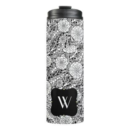 Flowers - Tumber Thermal Tumbler - monogram gifts unique custom diy personalize