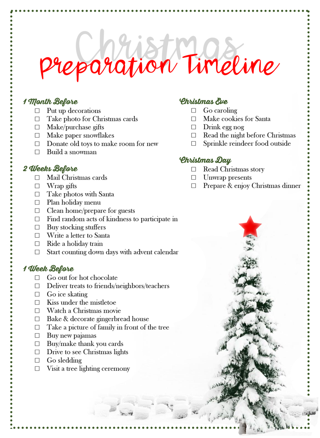 Christmas Preparation Timeline [by Laurel Smith] - The DIY Lighthouse #christmas