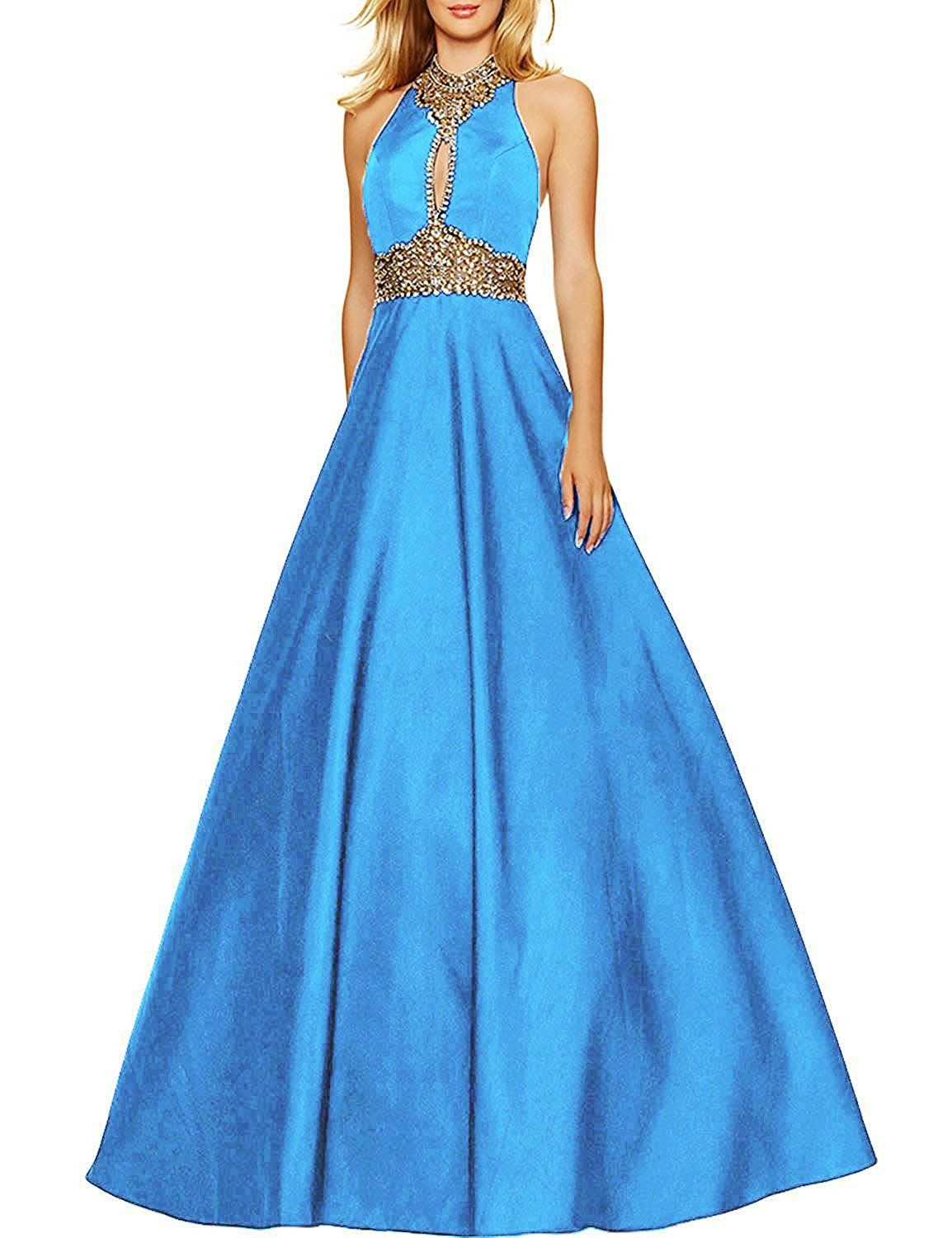 Womenus high neck prom dresses with rhinestones long beading