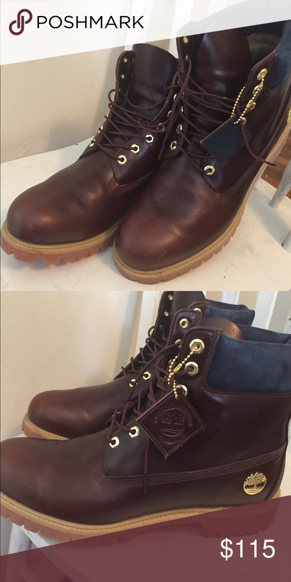 48c138d87c94 Cognac brown leather Timberlands men s size 12 Cognac beautiful lightly  used Timberlands limited edition w blue suede trim at the top.