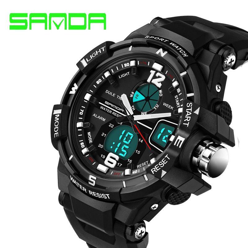 Hot Sale Brand Sanda Fashion Watch Men G Style Waterproof Sports Military Watches Shock Luxury Analog Digital Military Watches Fashion Watches Waterproof Clock