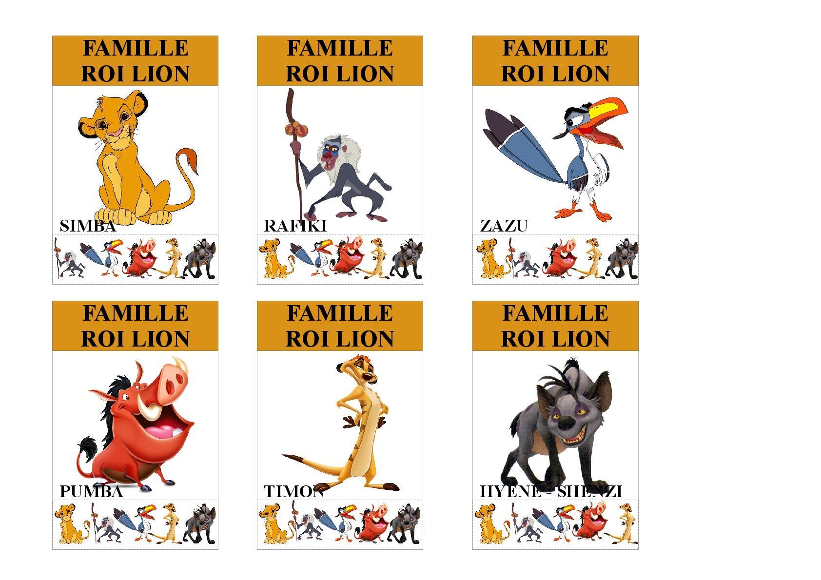 Famille Roi Lion Jeu Des 7 Familles Utilisable Pour Les Plus Jeunes Vu Que Tous Les Membres Des Familles Sont In Jeux Des 7 Familles Le Roi Lion Famille Disney