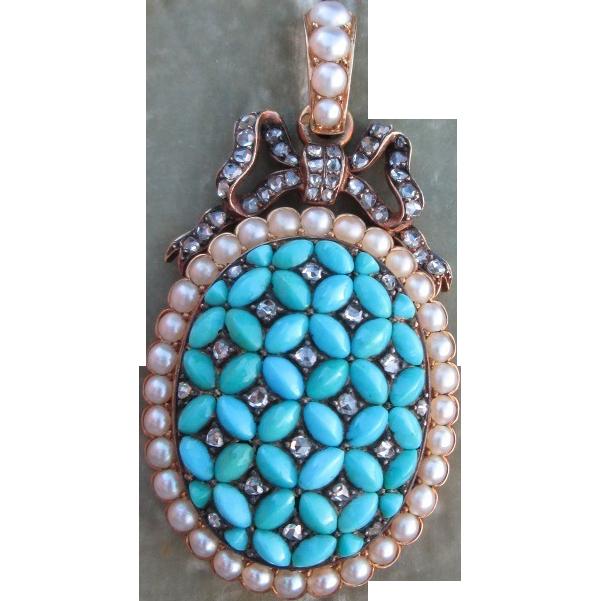 Rare Victorian Diamond Persian Turquoise French Locket