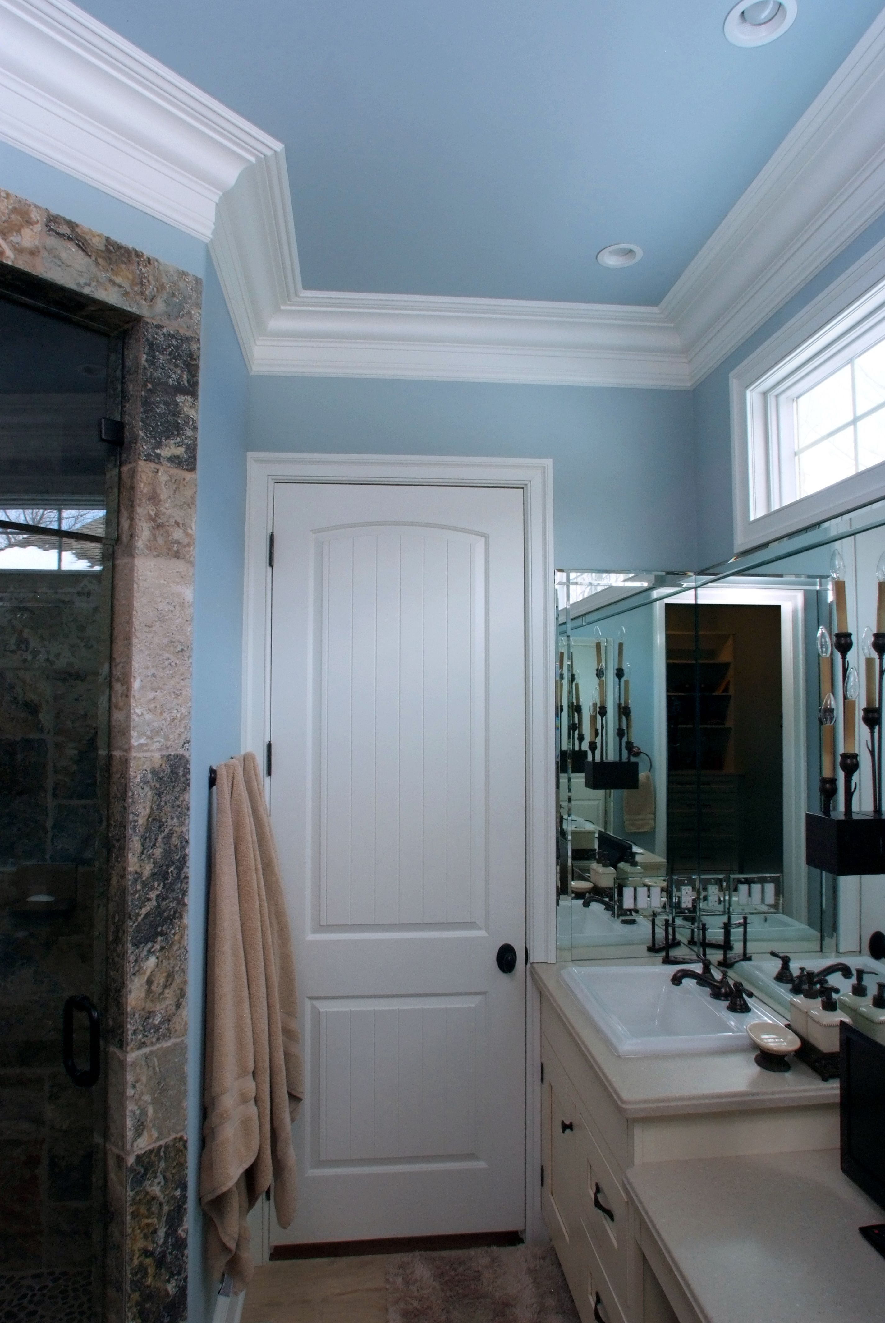Sante Fe  Ft Painted Interior Bathroom Door With A Built Up Crown - Crown molding for bathroom