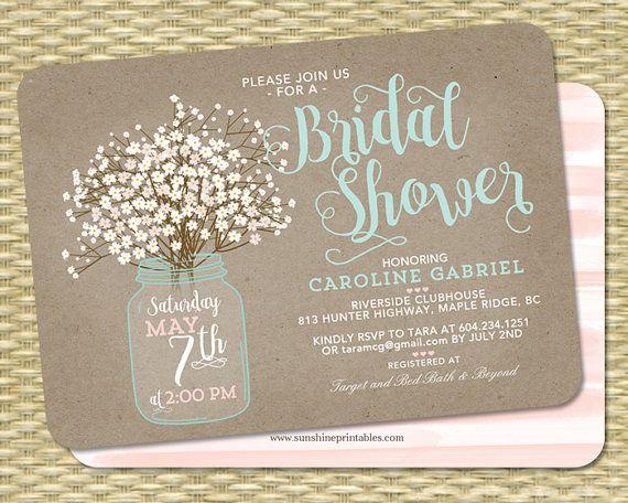 rustic bridal shower invitation kraft mason jar and baby's breath,
