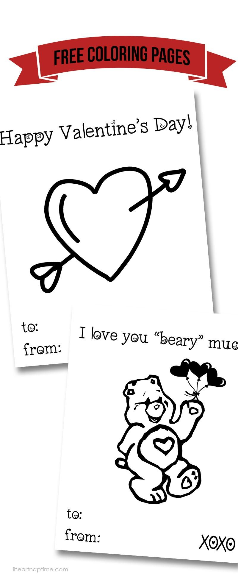 Free Valentine coloring pages ...perfect for kids to send off ...