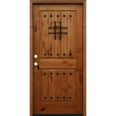 Pacific Entries 36 In X 80 In Rustic 2 Panel Square Top V Grooved Stained Knotty Alder Wood Prehung Front Door With 6 In Wall Series A42r6 Wood Entry Doors Wood Front Doors Wood Doors