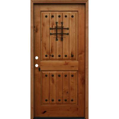 Krosswood Doors 42 In X 96 In Rustic Knotty Alder 4 Lite Clear Glass 2 Panel Unfinished Wood Front Door Slab Ka 554 36 80 134 In 2020 Wood Front Doors Wooden Front Doors Wood Exterior Door