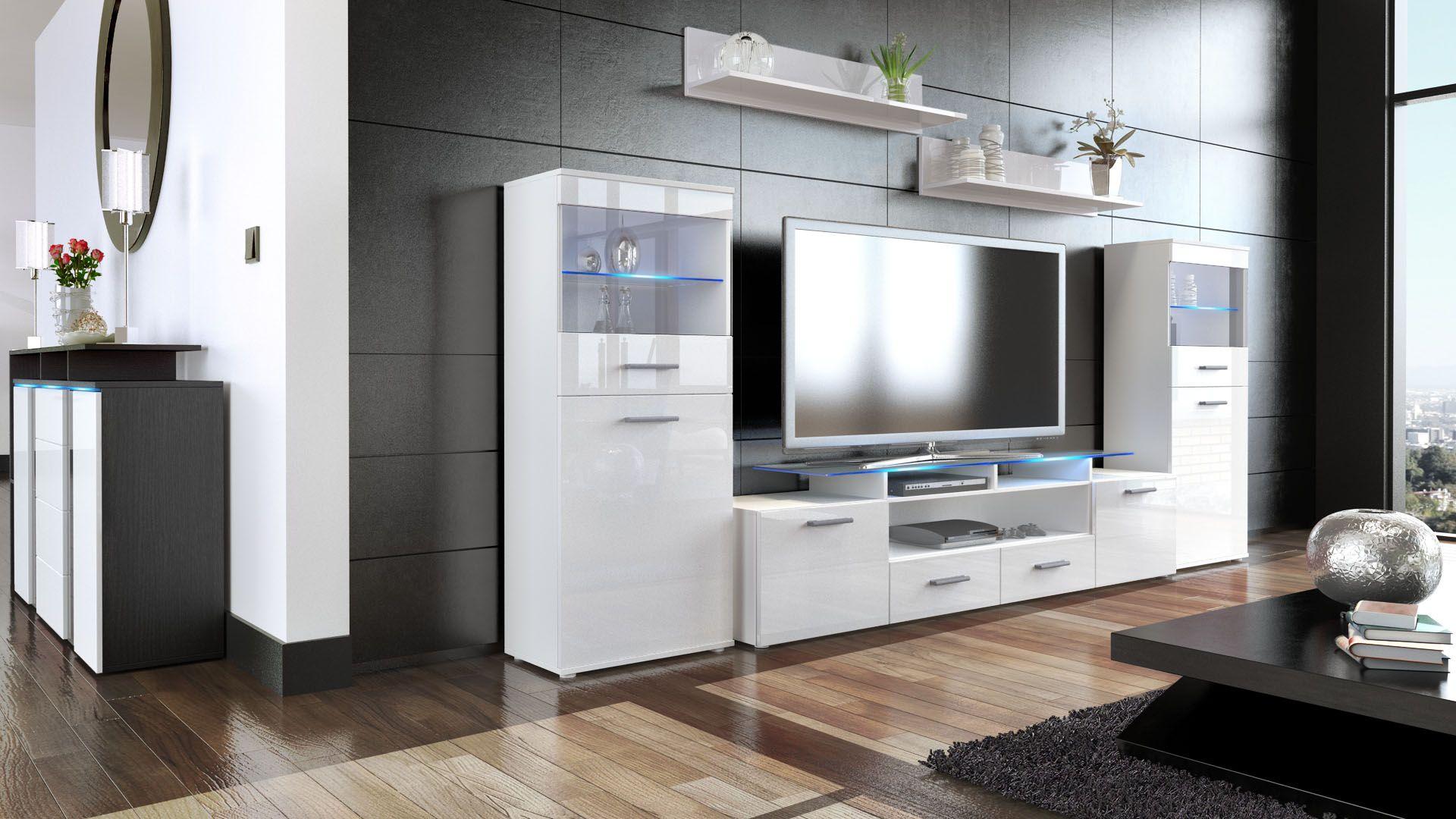 Almada V2 Wohnwand In Hochglanz Mit Led Beleuchtung Vladon De Wohnen Wohnwand Wohnzimmermobel
