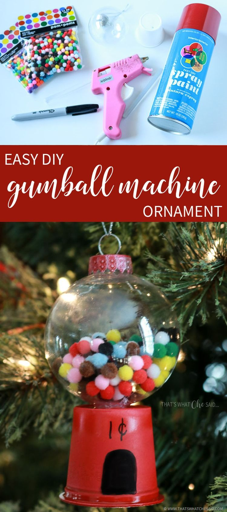 DIY Gumball Machine Ornament Christmas ornaments