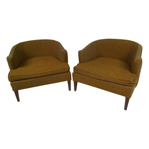 Mid Century Barrel Back Club Chairs New Upholstery Necessry But Great Lines