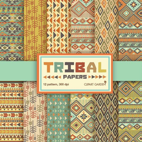 Earth Tone Tribal Papers Digital Scrapbook Paper Digital Paper Pattern Paper