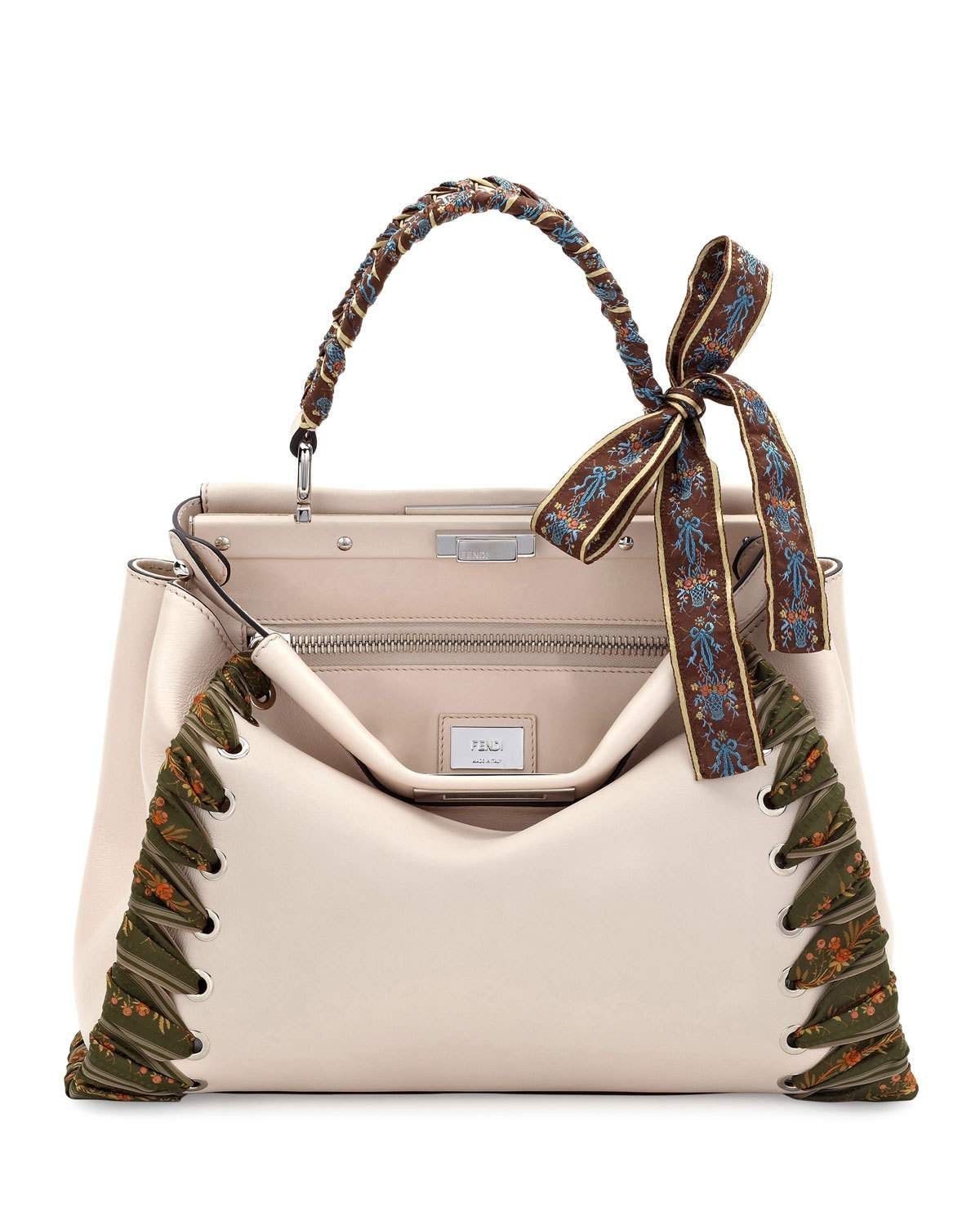 898a2512065 Peekaboo Medium Ribbon Whipstitch Satchel Bag Beige | Bags | Fendi ...