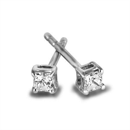 Sterling Silver 1 5 Carat T W Princess Cut Diamond Stud Earrings