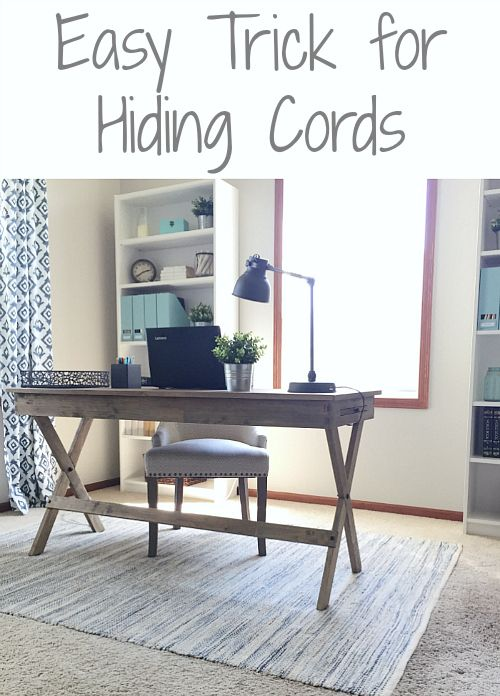 Easy Solution To Hide Cords In The Office Cord Easy And - Creative and stylish solution to hide electrical wires cluttering a room