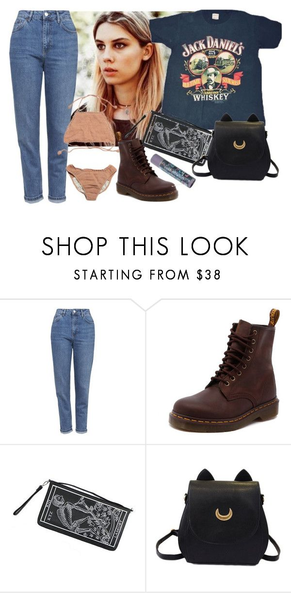 """Untitled #2842"" by valley-of-the-teenage-dolls ❤ liked on Polyvore featuring Topshop, Dr. Martens and Kokon To Zai"
