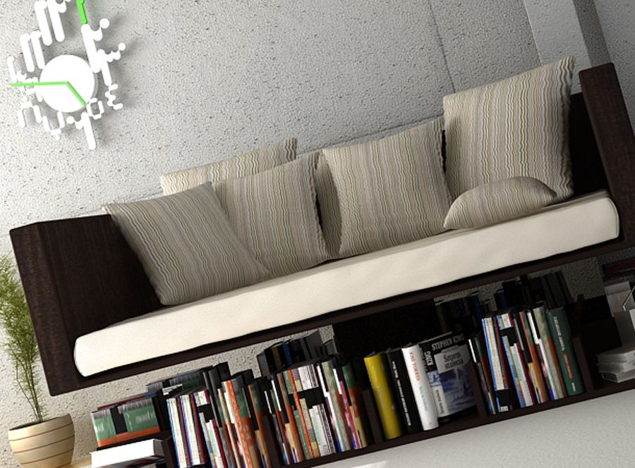 Modern Wooden Sofa With Unique Book Storage Minimalist Sofa Modern Sofa Bed Design Sofa Bed Design
