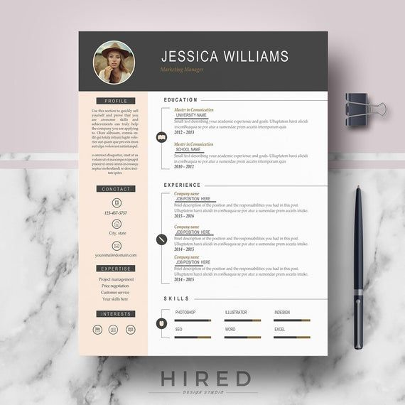 Resume Template with Photo | Curriculum Vitae | CV + Cover Letter format + References + Free Resume writing guide + icons | Instant Download