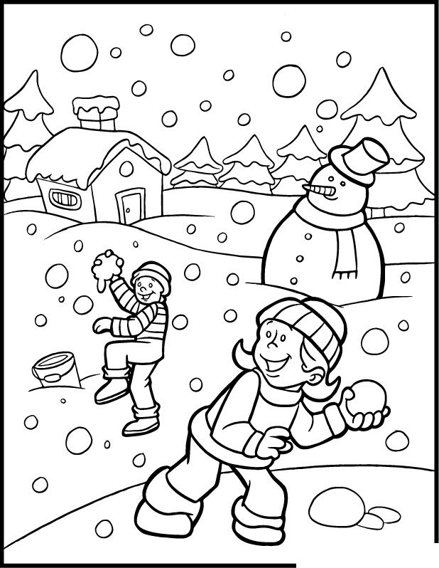 Snowball Fight Coloring Pages Winter, Coloring Pages For Kids, Free Coloring  Pages
