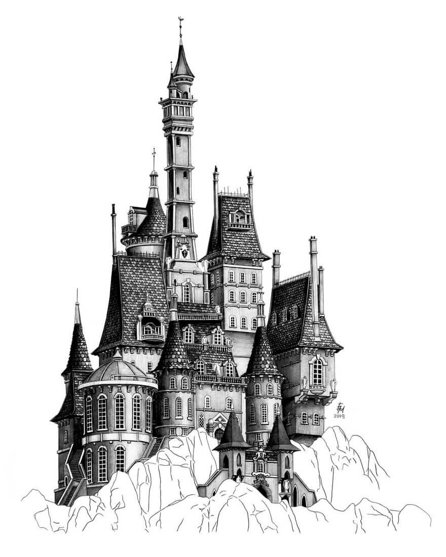 Detailed Pencil Architectural Drawings Architecture Drawing Castle Sketch Landscape Drawings